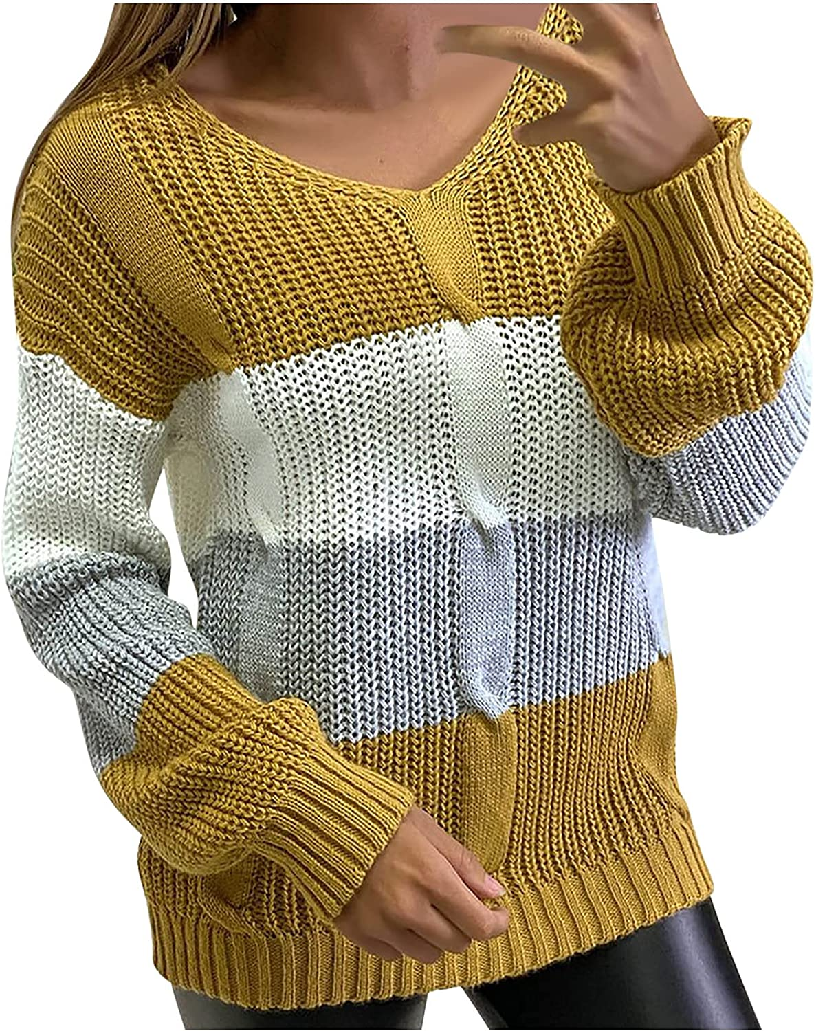 Knitted Sweater for Womens Warm Batwing Sleeve Pleated Jumper Tops O Neck Color Block Sweatershirt Loose Pullover
