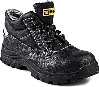Botas de Seguridad para Caballeros Puntera de Cuero Impermeable Kevlar Tobillo No Metálico HRO S3 SRC 1111 Black Hammer