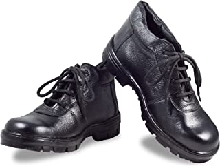 MEN'S BLACK GENUINE LEATHER STEEL TOE SAFETY SHOES(BOOT'S) BY RIGAU (11, BLACK)
