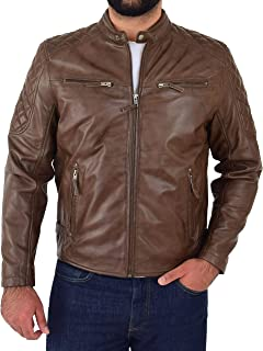 Mens Leather Casual Biker Jacket Cafe Racer Style Jackson Timber