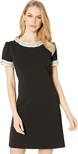 Scuba Crepe Dress with Pearl Trim