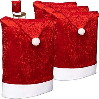 com-four® 4X Fundas para sillas Navidad - Decoraciones navideñas para sillas - Fundas para sillas Premium con diseño navideño - Fundas para sillas