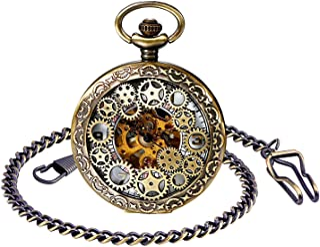 Infinito U- Retro Reloj de Bolsillo para Hombres y Mujeres Lupa Engranaje Especial Punky Hueco Mecánico Deportivo Reloj de Bolsillo con Cadena