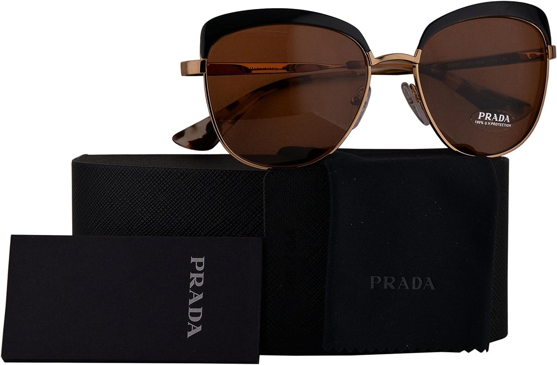 Prada Authentic Sunglasses PR51TS gold Black w Brown Lens LAX6N0 SPR51T (56mm)