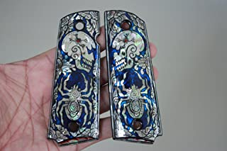 Spider & Skull Art blue Mother of Pearl MOP grips fit 1911 standard full size Colt Government, Commander, Kimber, Springfield, Remington, Taurus pt 1911, Smith & Wesson handmade