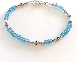 Aquamarine Bracelet, Dainty Beaded Bracelet, Karen Hill Tribe Fine Silver, March Birthstone, Bridal, Skinny Bracelet.925 Sterling Silver.