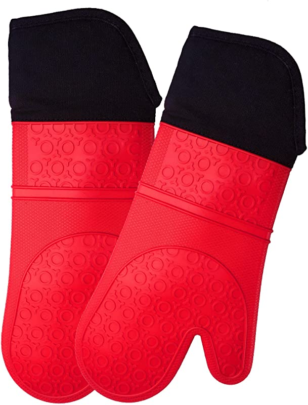Extra Long Professional Silicone Oven Mitt 1 Pair Oven Mitts With Quilted Liner Red Homwe