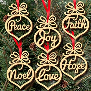 Gotian 6Pcs Wooden Ornament Xmas Tree Hanging Tags Pendant Decor Christmas Decorations