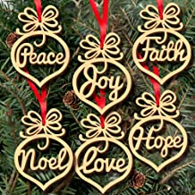 Christmas Ornaments, Hoshell 6pcs Christmas Hanging Ornaments Tree Decoration Wooden Hollow Letters Xmas