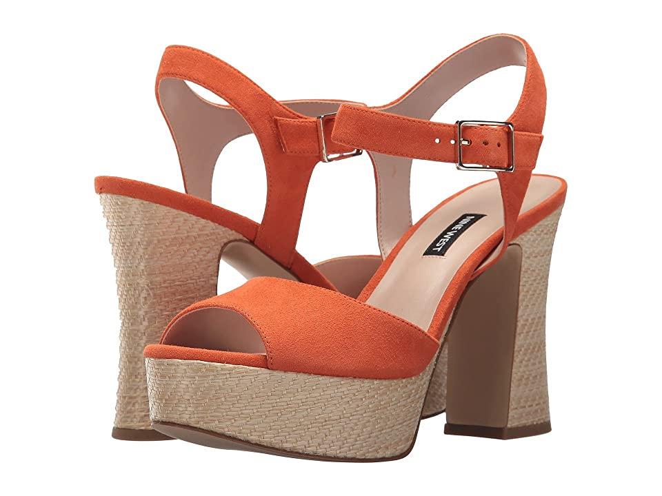 Nine West Wilmarie Platform Heel Sandal (Orange Suede) Women