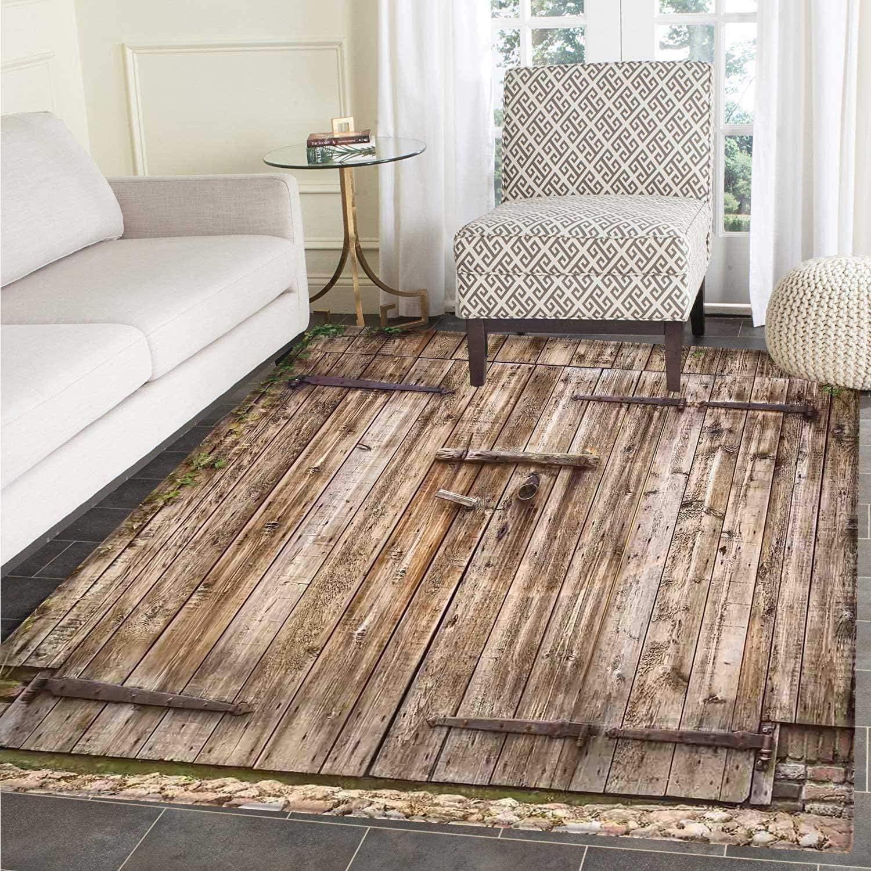 Rustic Rug Kid Carpet Old Oak Closed Garage Door Steel Hinges Vintage Typical Cottage Doorway Floor Mat Rug Indoor Front Door Kitchen Living Room Bedroom Mats Rubber Carpe Non Slip