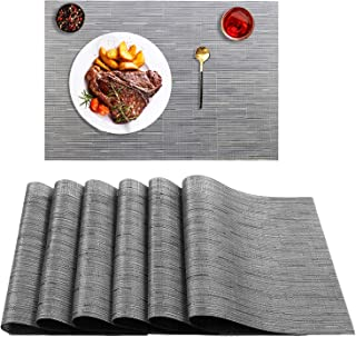 TCHH-DayUp Placemats, PVC Table Mats,Placemat Sets of 6 Non-Slip Washable Place Mats,Heat Resistant Kitchen Tablemats