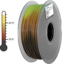 ECHEN 3D Printer Filament, Tri Color Changing with Temperature, Dark Grey to Orange to Yellow PLA Filament 1.75mm +/- 0.03 mm, 2.2LBS(1KG), Includes Sample Glow in The Dark Blue Filament.
