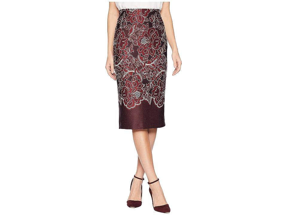 eci Puff Printed On Scuba Skirt (Black/Wine) Women