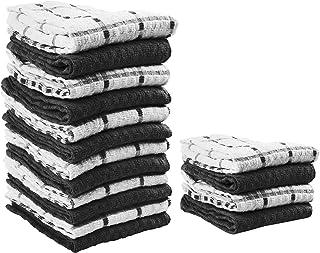 "Value Basics Kitchen Towel Set, 15"" x 25"", 16-Piece Dobby Weave Kitchen Dish Towel Value Pack (12 standard set + 4 towels FREE)"