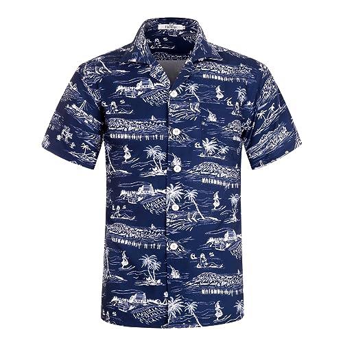 008f4e743dc7 Men s Hawaiian Shirt Short Sleeve Aloha Shirt Beach Party Flower Shirt  Holiday Print Casual Shirts L1