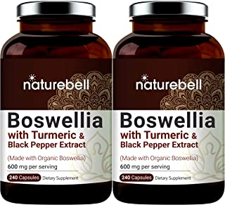 2 Pack Boswellia Capsules (Made with Organic Boswellia Extract Plus Organic Turmeric and Black Pepper Extract), 600mg Per ...