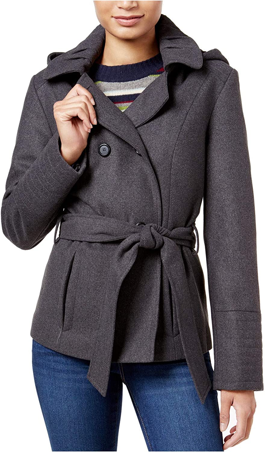 CelebrityPink Juniors Hooded Peacoat, Charcoal, XS