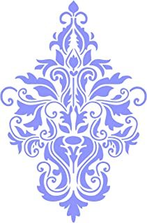 Damask Stencil - 4.5 x 6.5 inch (S) - Reusable Large Floral Allover Pattern Wall Stencil Template - Use On Paper Projects Scrapbook Journal Walls Floors Fabric Furniture Glass Wood Etc.