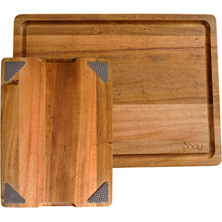 Large Acacia Wood Cutting Board Non Slip with Juicegroove, Wooden Chopping Board for Kitchen Countertop, 16x12 inches, by Shay (With Rubber Feet, 16x12)