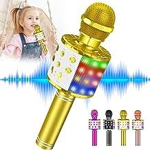Kids Karaoke Machine Toy Microphone, Tesoky Wireless Bluetooth LED Lights Microphone Portable Handheld Mic Karaoke System ...