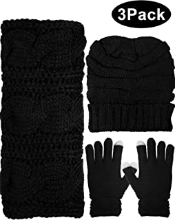 Winter Warm Knit Set - Beanie Hat, Knitted Scarf and Stretch Gloves for Women Men