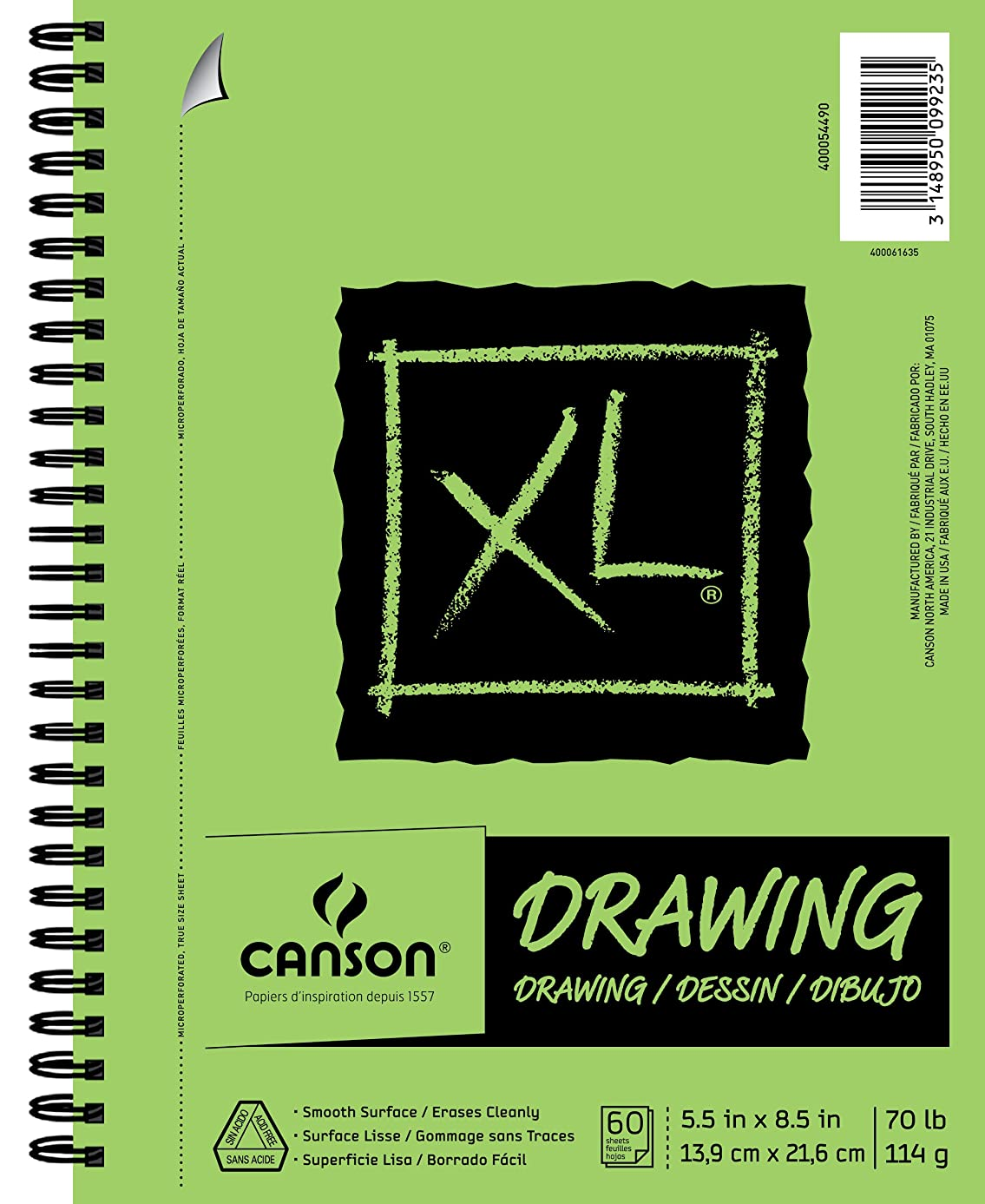 """Canson XL Series Drawing Pad, 5.5"""" x 8.5"""", Side Wire Bound, 60 Sheets (400054490)"""