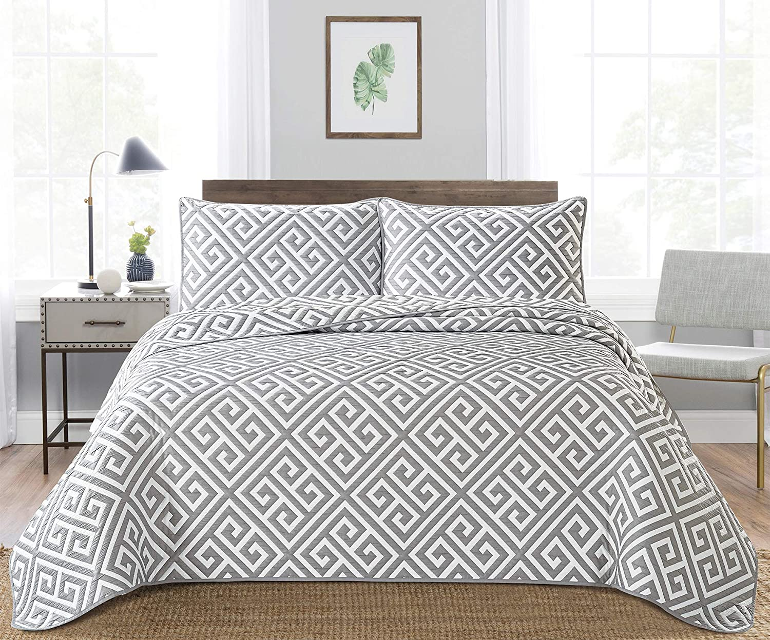Bedding 3-Piece Washed Quilt Bedspread Coverlet Queen San Francisco Mall Set 2021 new Grey
