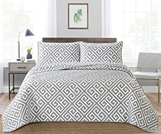 Bedding 3-Piece Washed Quilt Bedspread Coverlet Set (Grey, Queen(90x90))