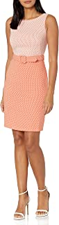 Calvin Klein Women's Belted Two-Toned Sheath Dress