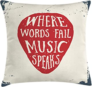Ambesonne Rock Music Throw Pillow Cushion Cover, Where Words Fail Music Speaks Words Musical Slogan Hand Drawn Pick, Decorative Square Accent Pillow Case, 16
