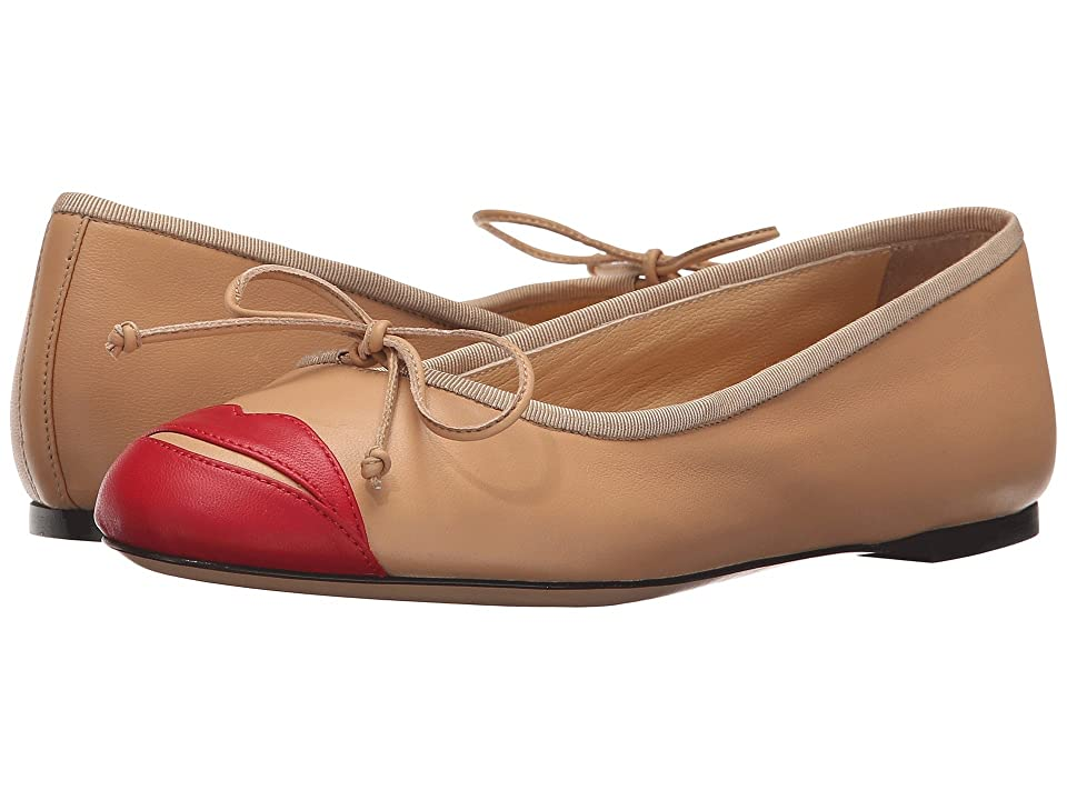 Charlotte Olympia Kiss Me Darcy (Nude/Red Calfskin) Women