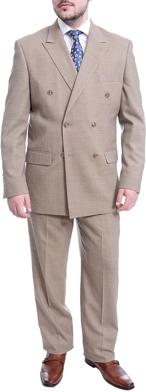 Steven Land Light Olive Green Birdseye Double Breasted Wool Suit