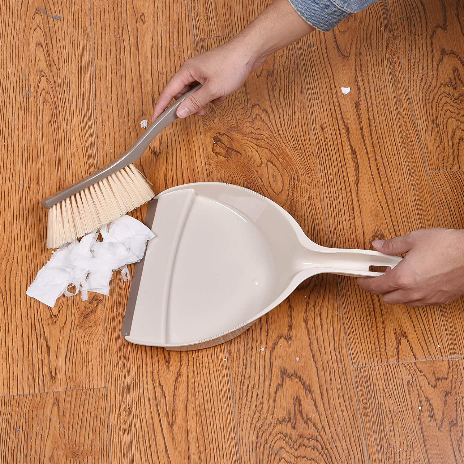 Multi-Functional Portable Snap-on Dustpan Set Mini Hand Dustpan and Brush Sofa Cleaning Tool for Floor Car 2-Pack Pink and Beige Desk