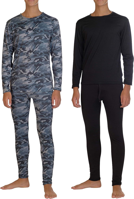 2 Pack: Boys Thermal Underwear Set Fleece Lined Long Johns Kids Top & Bottom Knit Base Layer Winter Sets