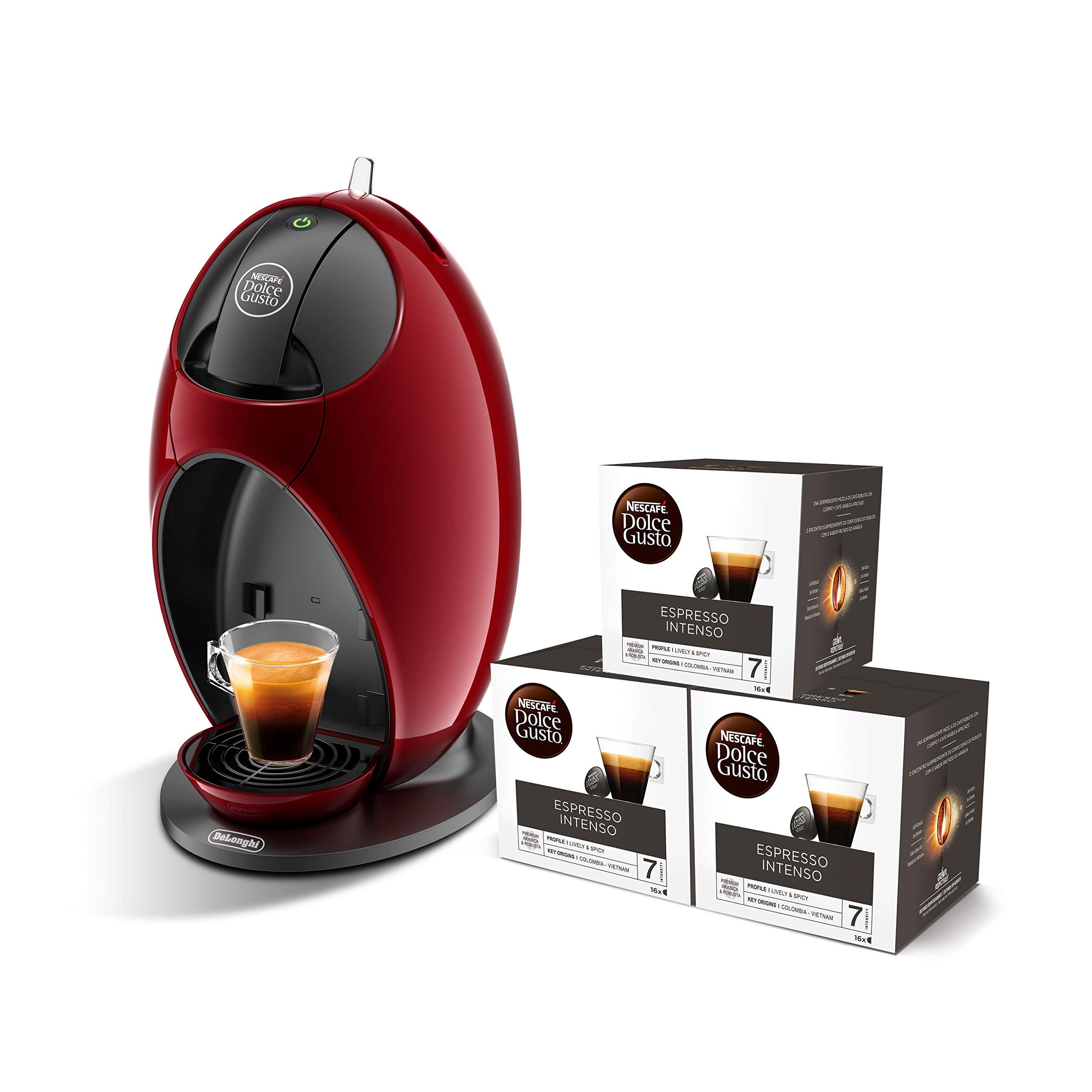 Pack DeLonghi Dolce Gusto Jovia EDG250.R - Cafetera de cápsulas, 15 bares de presión, color rojo + 3 packs de café Dolce Gusto Espresso Intenso: Amazon.es: Hogar
