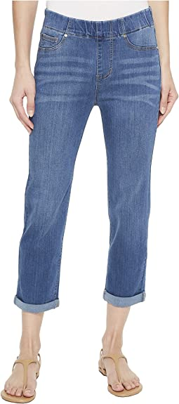 Chloe Rolled Cuff Pull-On Capris in Silky Soft Denim in Coronado Mid