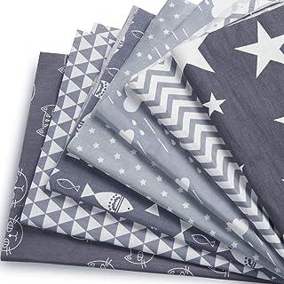 Czemo Patchwork Tissu Lot de 7 pièces 50cm x 40cm Mixtes Textile Tissu Carrés en Coton Imprimé Textiles pour DIY Patchwork...