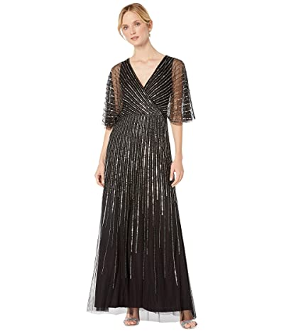Adrianna Papell Sequin V-Neck Dress (Black/Gunmetal) Women