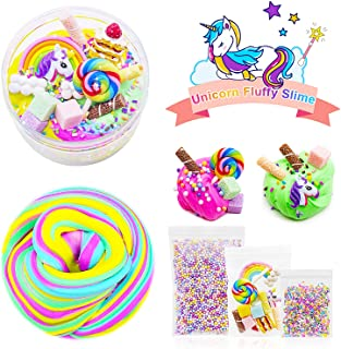 4 Color Fluffy Slime Set,Unicorn Slime Gift,Birthday Cake Slime kit with Rainbow,Lollipop,Unicorn,Pastry,Chocolate,Foam Beads,Charm Sludge Scent Soft Toy for Boys and Girls