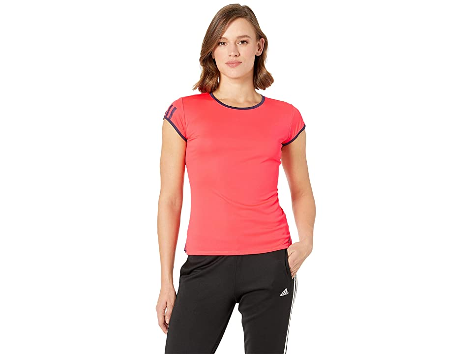 adidas Club 3-Stripes Tee (Shock Red) Women's T Shirt