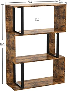 IRONCK Bookcase and Bookshelf 3 Tier Display Shelf, S-Shaped Metal and Wood Bookshelves Cabinet Storage, Freestanding Multifunctional Decorative Shelving for Home Office, Vintage Brown