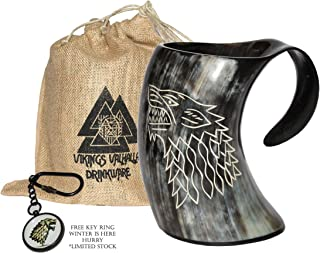 ZAHANAARA's Vikings Valhalla Game of thrones stark house viking drinking horn mug wolf..