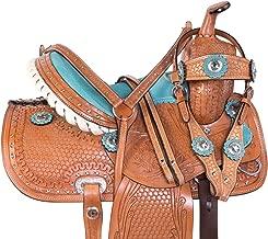 "AceRugs 10"" 12"" 13"" Western Show Crystal Barrel Racing Leather Trail Youth Kids Horse Saddle TACK Set Children"