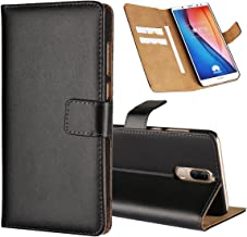 Jaorty Huawei Honor 9i/Mate 10 lite/Nova 2i Case, Genuine Leather Folio Flip Wallet Case Cover Book Design with Kickstand Feature & Magnetic Closure & Card Slots/Cash Compartment-Black