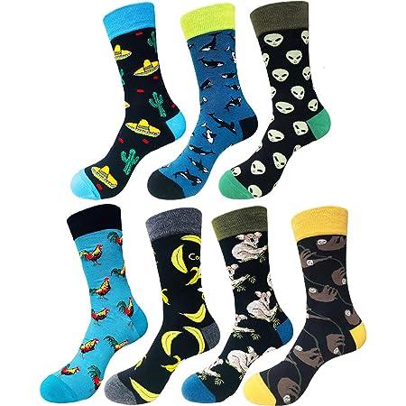 EmaoFun Calcetines divertidos para hombre, calcetines coloridos de algodón para vestir, para hombre, talla 41 - 46