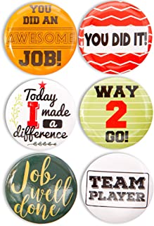 Pinback Buttons - 24-Pack Recognition Pins Round Buttons, Metal Pins for Gratitude and Appreciation, as Incentive, Motivation Awards for Kids, Employees, Students, Co-Workers