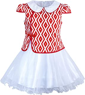 Sunny Fashion Girls Dress 2-in-1 Red Plaid White Collar Tulle Size 7-14 Years