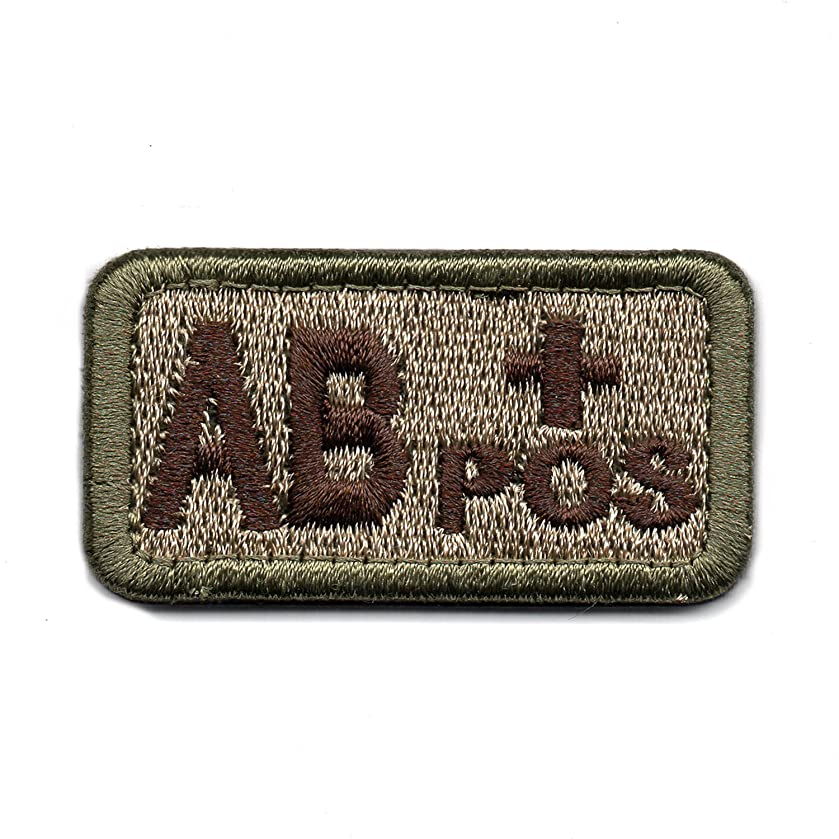 Tactical Blood Type Patch with Hook and Loop (AB+)