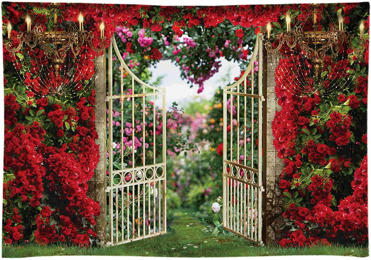 Funnytree 7x5FT Spring Garden Backdrop Red Rose Valentine's Day Flower Vintage Landscape Background Wedding Couple Bridal Shower Party Supplies Decor Banner Photography Prop Photobooth Soft Fabric